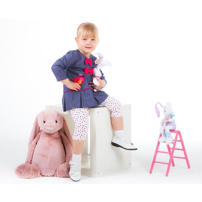 """Комплект для девочки """"Сердечки"""": платье, легинсы, рост 80-86 см (12-18 мес.) 9106IC0459"""