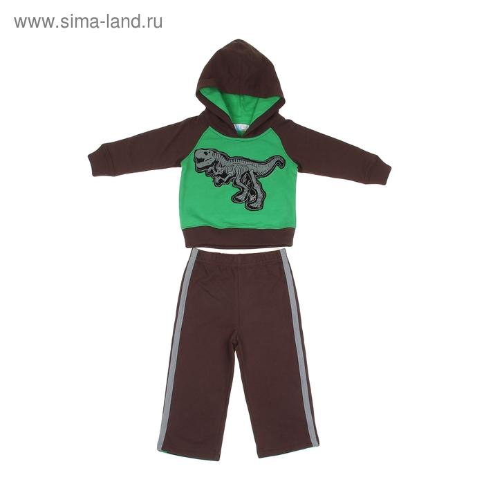 """Комплект для мальчика """"Динозавр"""": кофта, брюки, рост 80-86 см (12-18 мес.), цвет коричневый/зеленый 9122ID0304"""