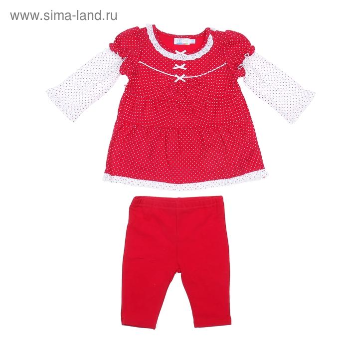 Комплект для девочки: кофта в мелкий горошек, штанишки, рост 68-74 см (6-9 мес.), цвет красный 9122NC0362