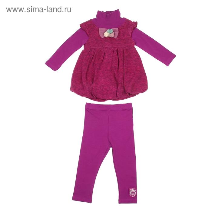 """Комплект для девочки """"Цветные розы"""": платье, легинсы, рост 98-104 см (24-36 мес.) 9199IC1373"""