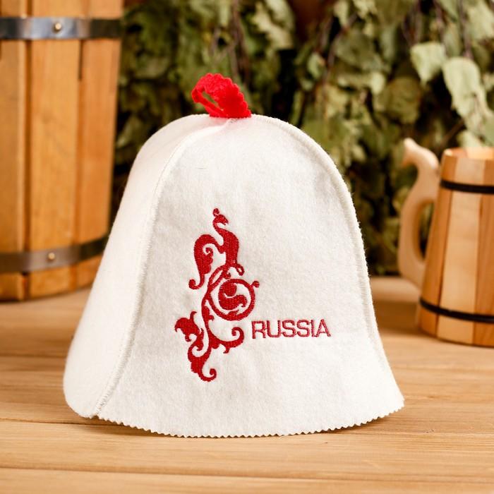 Банная шапка «Russia» белая