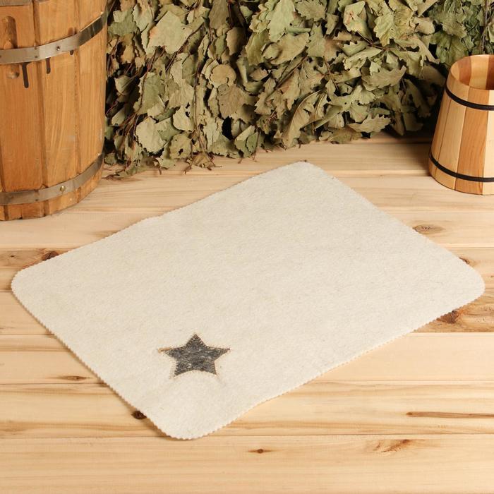 Набор для бани и сауны «Будёновка»: шапка, коврик, белый