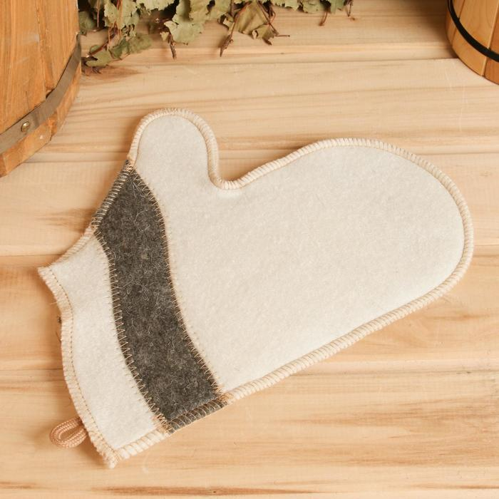 Рукавица для бани и сауны «Волна», белая