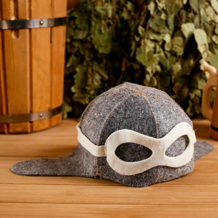 Банная шапка «Шлем пилота», войлок, коричневая