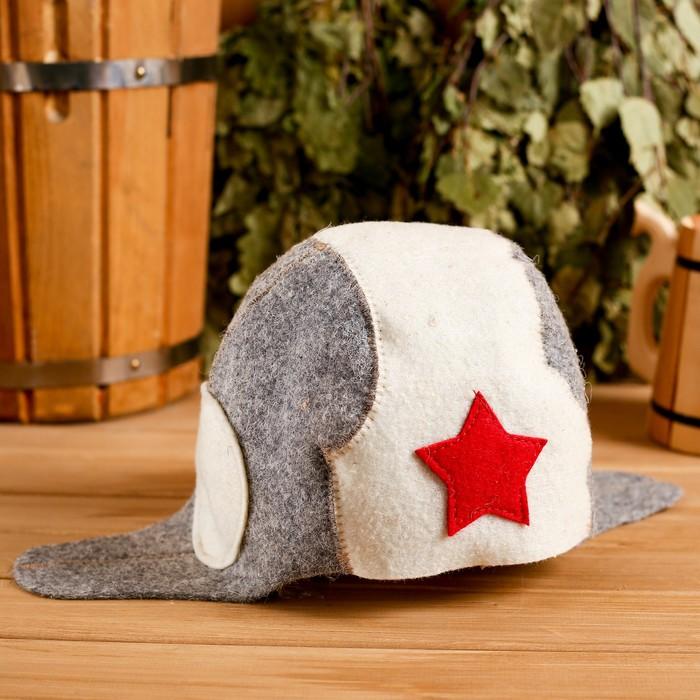 Банная шапка «Банная шапка танкиста», войлок, комбинированная