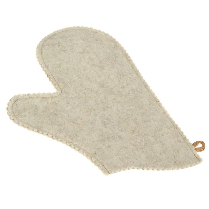 Набор для бани и сауны с вышивкой «Поддай! Замёрзнешь!»: шапка, рукавица, фетр, белый