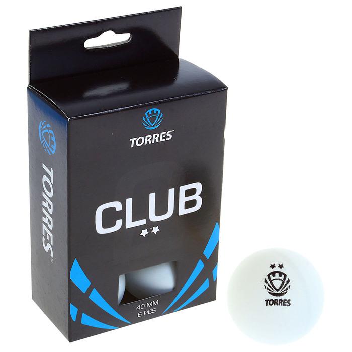 Мяч для настольного тенниса Torres Club, 2 звезды, набор 6 шт., цвет белый