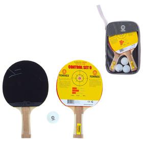 Набор для настольного тенниса TORRES Control 9 (2 ракетки, 3 мяча), накладка 1,8 мм, коническая ручка