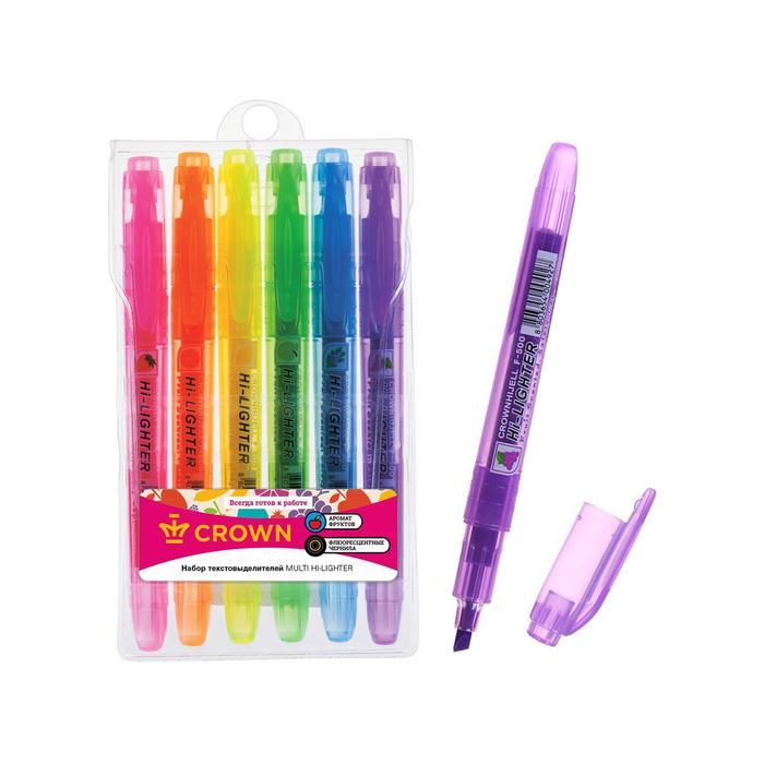 Набор маркеров текстовыделителей 6 цветов 5.0 Crown F-500 аром.