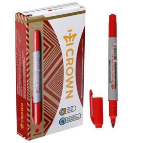 Маркер перманентный двухсторонний 4.0 мм/2.0 мм Crown красный