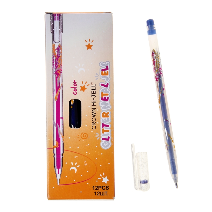 """Ручка гелевая цветная Glitter Crown """"Люрекс"""" синяя 1.0мм"""