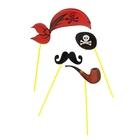 """Набор аксессуаров для фотосессии на палочке """"Пират"""" 4 пр.: бандана, трубка, наглазник, усы"""