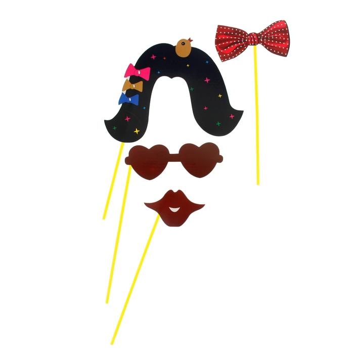 """Набор аксессуаров для фотосессии на палочке """"Кокетка"""", 4 предмета: бабочка, очки, парик,губы"""