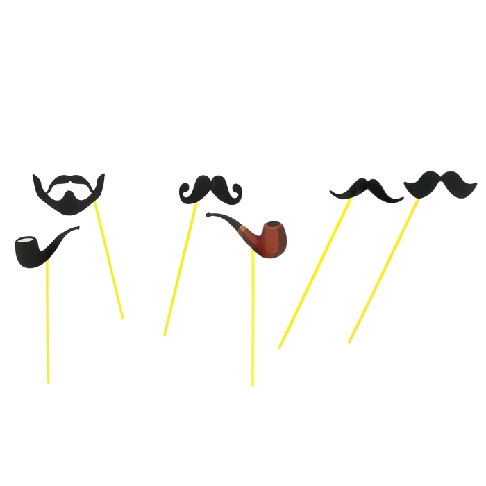 """Набор аксессуаров для фотосессии на палочке """"Господа"""", 6 предметов: 2 трубки, 4 вида усов"""