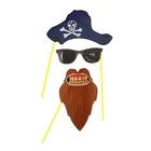 """Набор аксессуаров для фотосессии на палочке """"Пират"""" 3 предмета: шляпа, очки, борода"""