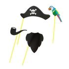 """Набор аксессуаров для фотосессии на палочке """"Пират"""" 4 пред.: шляпа, борода, попугай, трубка"""