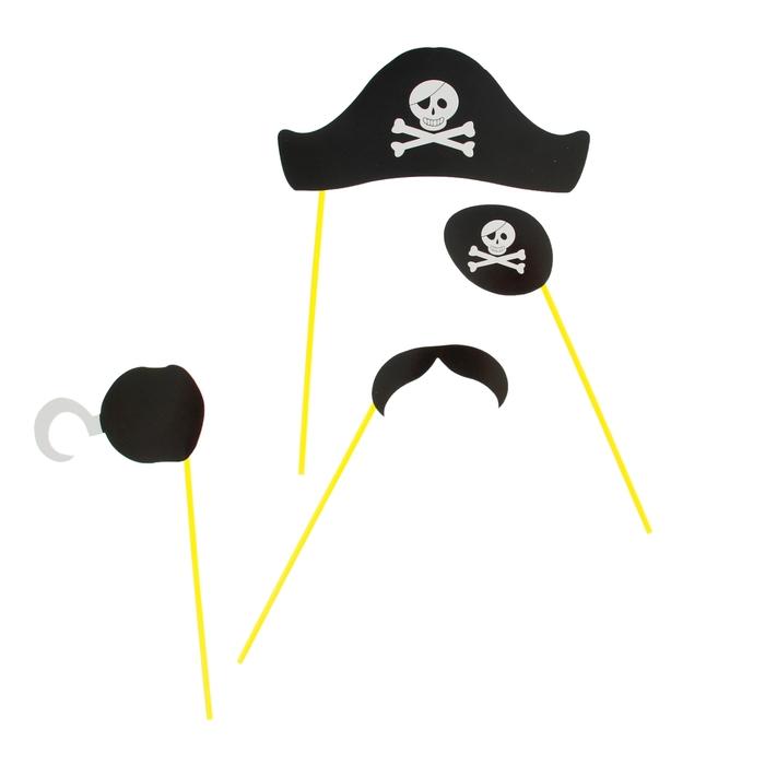 """Набор аксессуаров для фотосессии на палочке""""Пират"""" 4 предмета: шляпа, наглазник, усы, борода"""