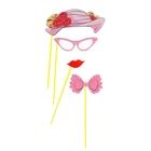 """Карнавальный набор для фотосессии """"Дамочка"""", 4 предмета: шляпка, очки, бабочка, губки"""