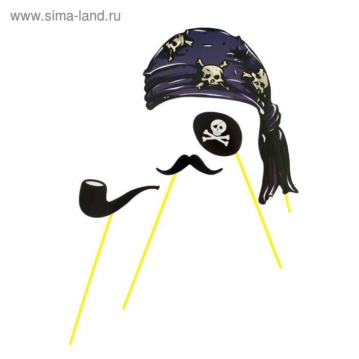 """Набор аксессуаров для фотосессии на палочке """"Пират"""" 4 пр.: бандана, наглазник, усы, трубка"""