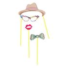 "Набор аксессуаров для фотосессии на палочке ""Леди"", 4 предмета: шляпа, бабочка, очки, губки"