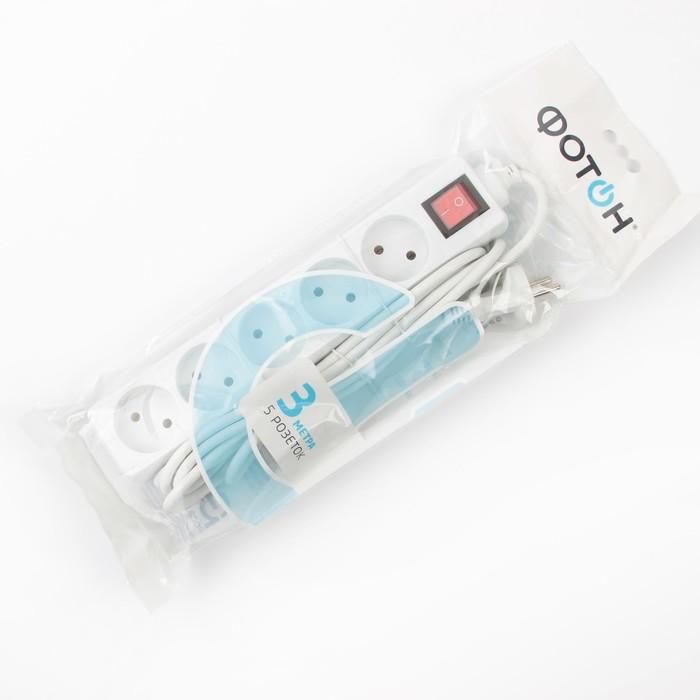 Удлинитель «Фотон», пятиместный, 3 м, с кнопкой вкл/выкл, без заземления, 10 А, 250 В