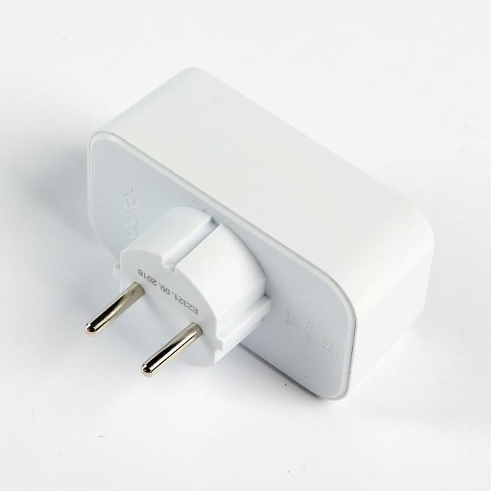 Разветвитель электрический, двойник, без заземления, 6 А