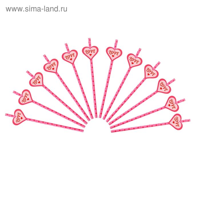 Трубочка для коктейля розовая в горох (набор 12 шт, 12 наклеек)