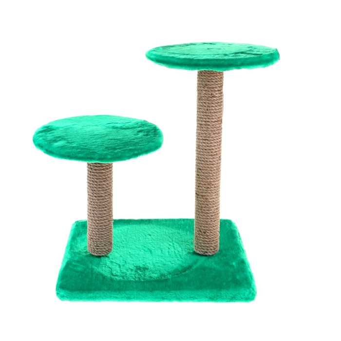 Домик-когтеточка с круглой площадкой, 40х40х50 см, микс цветов