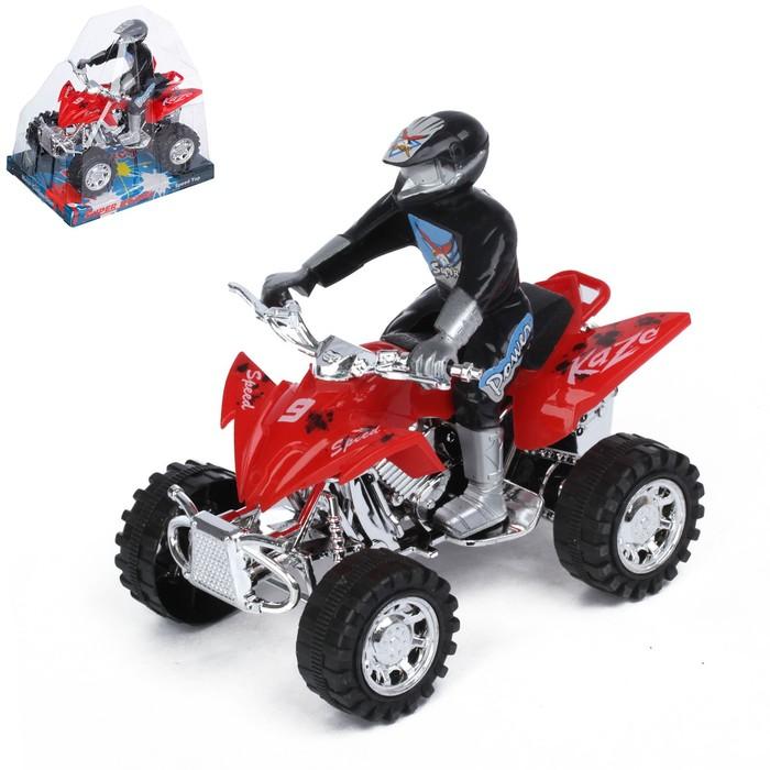 Мотоцикл инерционный «Квадрик», с гонщиком, цвета МИКС