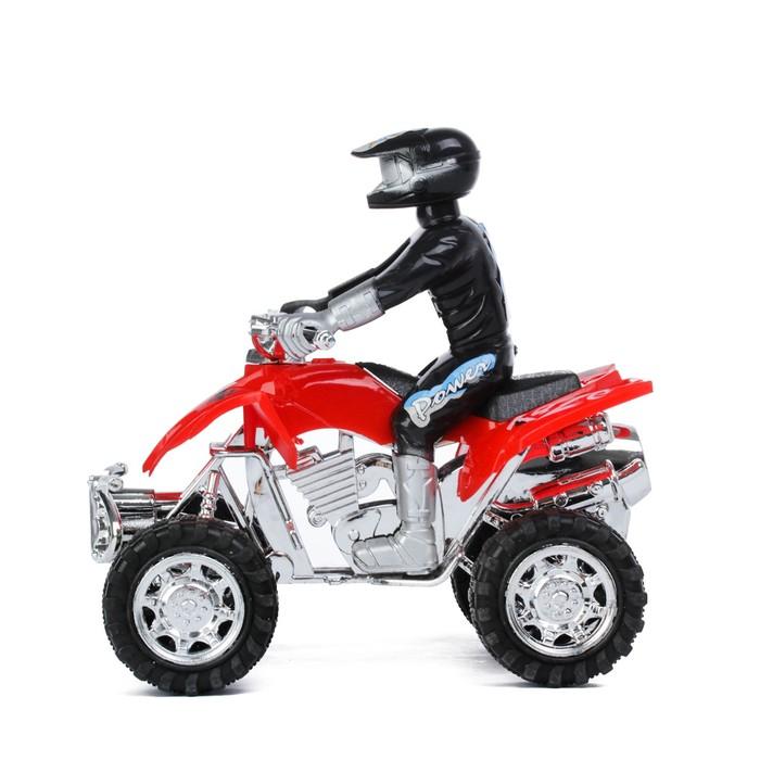 Мотоцикл инерционный «Квадрик», с гонщиком, цвета МИКС - фото 538152127