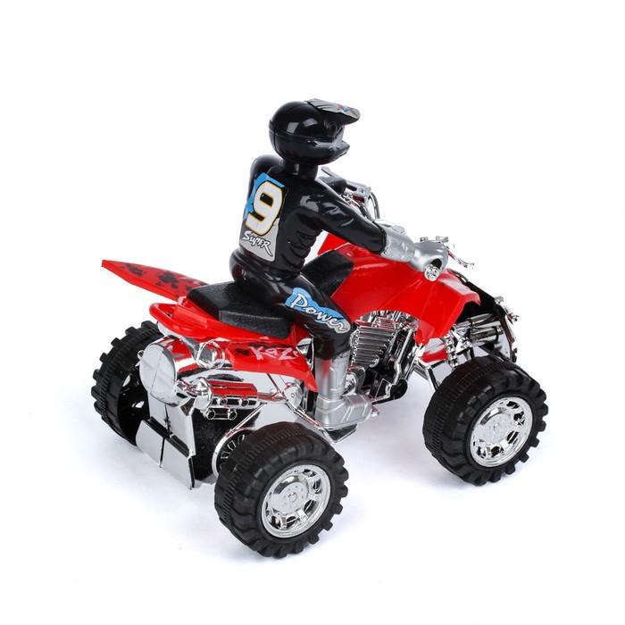 Мотоцикл инерционный «Квадрик», с гонщиком, цвета МИКС - фото 538152128