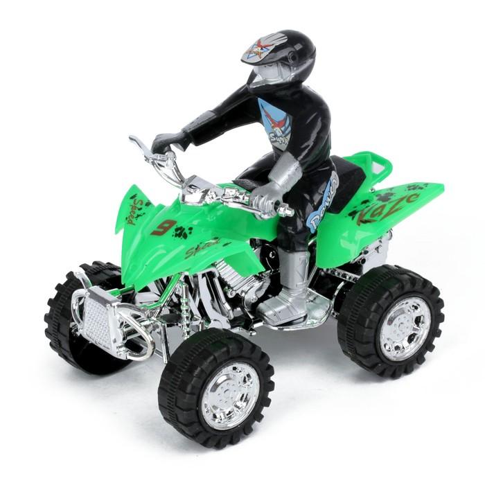 Мотоцикл инерционный «Квадрик», с гонщиком, цвета МИКС - фото 538152129