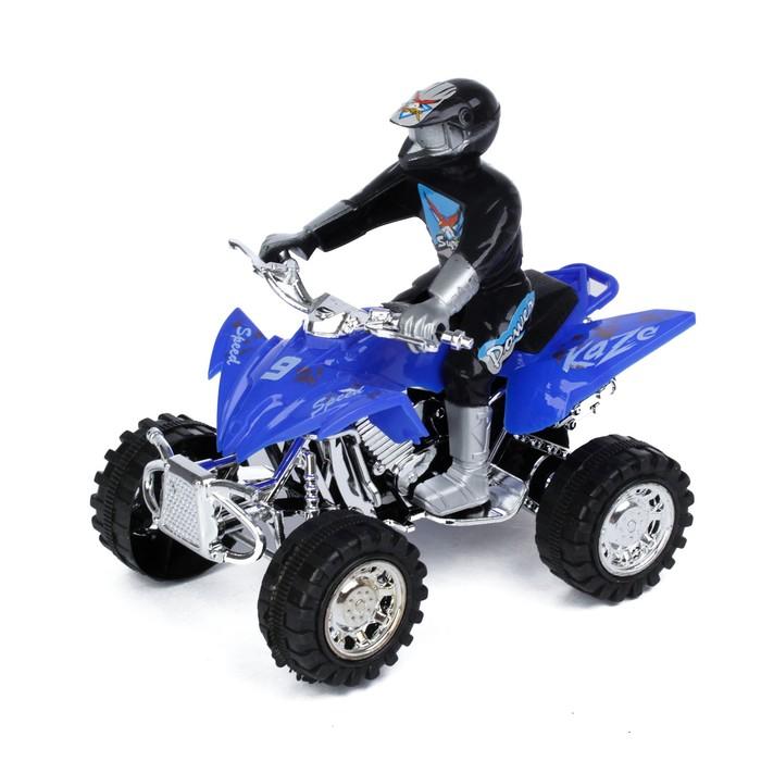 Мотоцикл инерционный «Квадрик», с гонщиком, цвета МИКС - фото 538152130