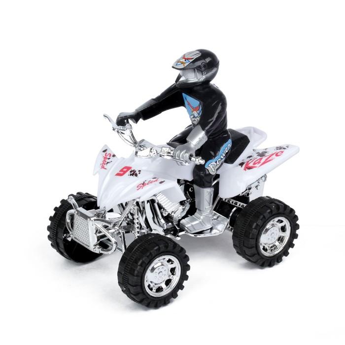 Мотоцикл инерционный «Квадрик», с гонщиком, цвета МИКС - фото 538152131