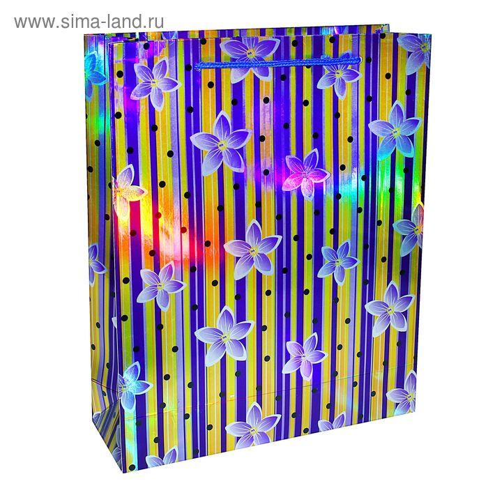 """Пакет ламинированный """"Цветочки и полоска"""", цвет фиолетовый"""