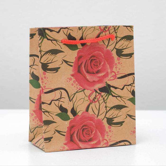 """Пакет крафт """"Розы"""", 12 х 15,5 х 5,5 см"""