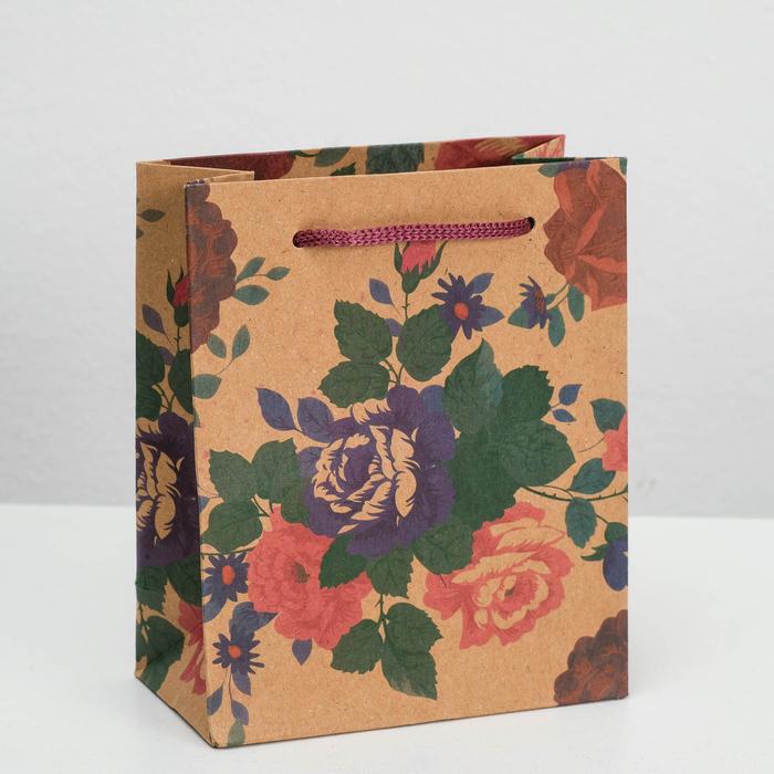 "Пакет крафт ""Шипы и розы"", 12 х 5,5 х 15,5 см"