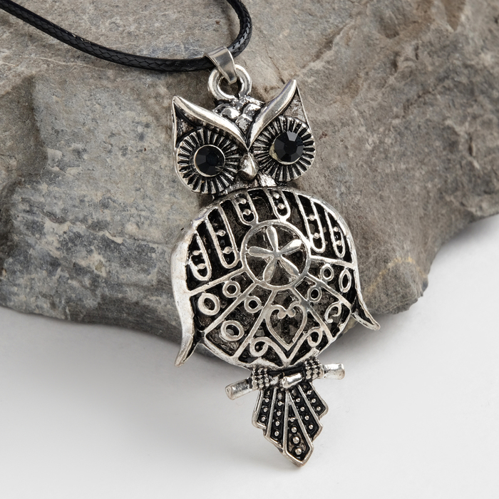 "Кулон ""Сова-Филин"", art, цвет чернёное серебро, 90см"