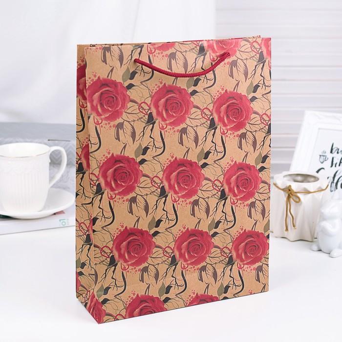 """Пакет крафт """"Розы"""", 15 х 20 х 6 см"""