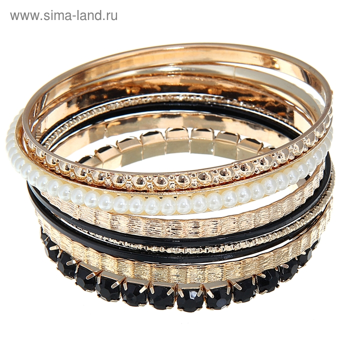 """Браслет-кольца 8 колец """"Ариэль"""", цвет чёрный в золоте"""