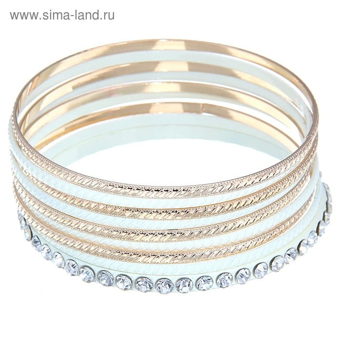 """Браслет-кольца 9 колец """"Леди"""", цвет белый в золоте"""