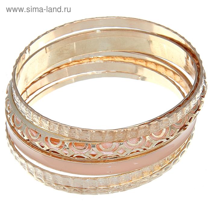 """Браслет-кольца 6 колец """"Узор"""", цвет персиковый в золоте"""