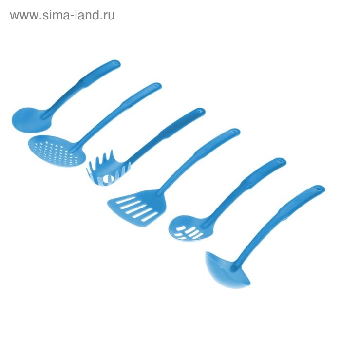 """Набор кухонных принадлежностей """"Солнечный"""", 6 предметов, голубой"""