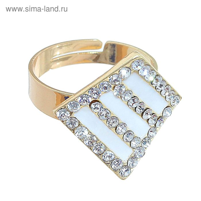 """Кольцо """"Ромб"""", цвет белый в золоте, безразмерное"""
