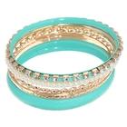 """Браслет-кольца 6 колец """"Матовое кольцо с жемчужинами"""", цвет мятный в золоте"""