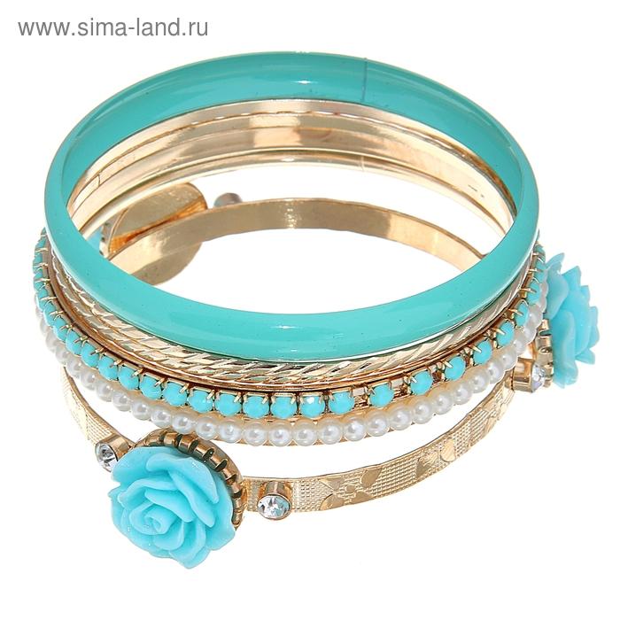 "Браслет-кольца 6 колец ""Цветок"" роза, цвет голубой в золоте"