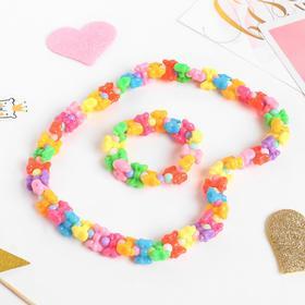 Набор детский 'Выбражулька' 2 предмета: бусы, браслет, бантики, цвет МИКС Ош