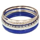 """Браслет-кольца 6 колец """"Матовое кольцо с жемчужинами"""", цвет синий в золоте"""