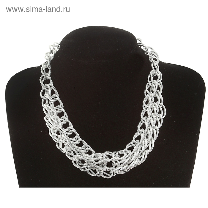 "Колье ""Цепь"", 3 яруса, цвет серебро 45 см"
