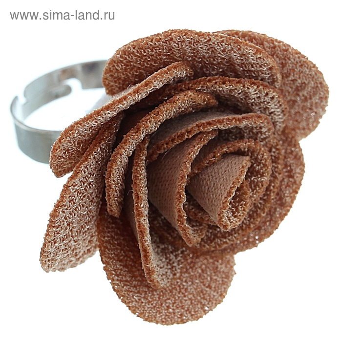"""Кольцо """"Розалия"""", цвет коричневый, безразмерное"""